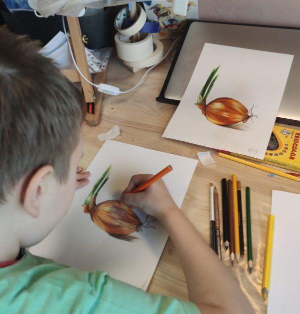 """Иллюстрация Цветными карандашими. Техника """"замыливания""""."""