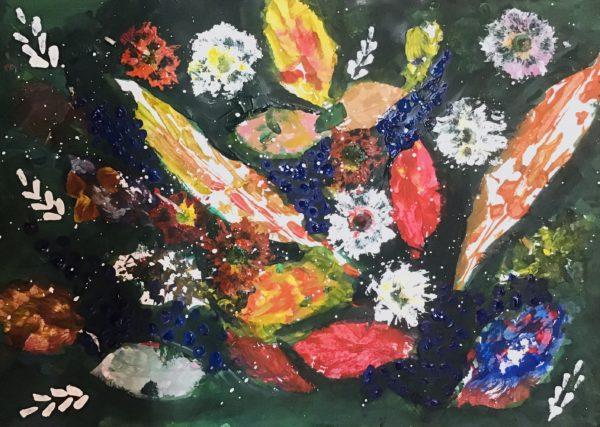 Печатная техника гуашью: цветочный натюрморт